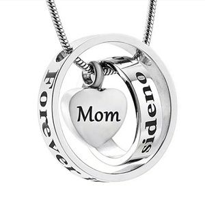 Jewelry - Two Circle- heart cremation urn necklace